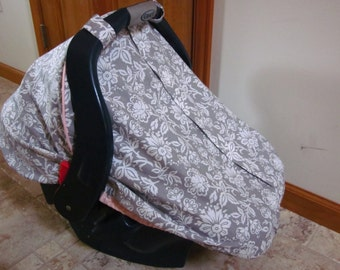 Car Seat Canopy / Fitted / Grey and White Floral cotton fabric