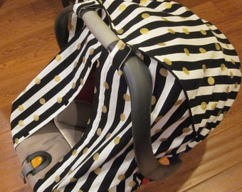 Car Seat Canopy / Cover - Fitted - Black White Stripe with Gold Circles