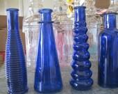 4-COBALT / Blue Decorative Colored glass bottles, floral Bud vase, vintage inspired, SHABBY chic, Home Decor, RUSTIC wedding