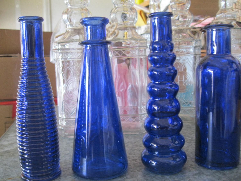 4 cobalt blue decorative colored glass bottles floral bud. Black Bedroom Furniture Sets. Home Design Ideas