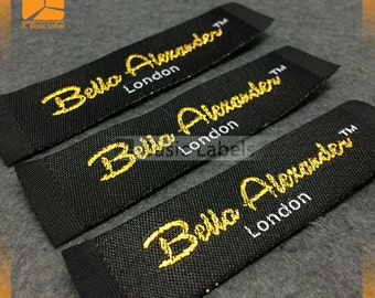 300 gold metallic woven labels, Sparkling text, custom labels,  lurex labels, clothing labels,  silver label, woven lurex labels