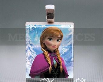 Frozen 'Anna' Scrabble Tile Pendant with Silver Ball Chain