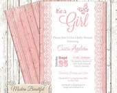 It's a girl baby shower invitation - pink butterfly invitation , wood, lace, chic, shabby, modern, baby girl, butterfly modern, elegant