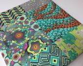 Patchwork Baby Blanket, Amy Butler Glow, Aqua, Green, Orange, Purple, Minky Baby Blanket, Choose Aqua or White Minky
