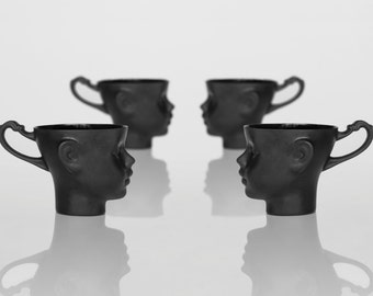 Porcelain doll head cups in black - whimsical set of four black ceramic artisan mugs, for coffee or tea