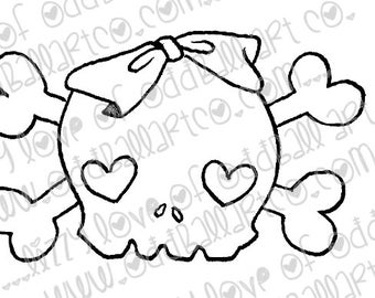Digital Stamp Instant Download Kawaii Heart Skull & Crossbones with Bow Image No. 147 by Lizzy Love