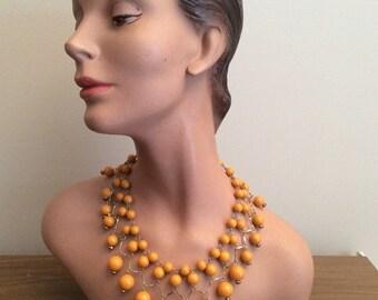 1960s Orange Bead Bib Necklace 60s