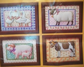 Vintage Sewing Kit, Trapunto kit, Country Trapunto Kit, Farm Animals Creative Kit with Frames, Creative Circle Kit 1774