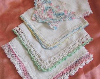 Hankies - Lot of 4 Assorted White Vintage Handkerchief Crochet Edges
