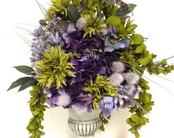 """SALE Tuscan Style Silk Floral Mix Arrangement  Floral Centerpiece  22""""X15"""" Sage Green Lavender Plum Purple"""