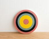 Target Circle Art Block - Pink/Blue/Yellow - bull's eye, vintage look, colorway #3