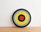Target Circle Art Block - Blue/Yellow/Navy/Red - bull's eye, vintage look, colorway #5