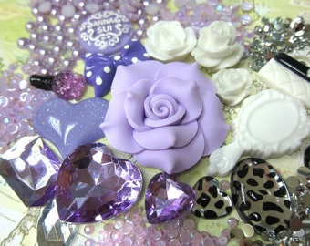 Fashion Light Purple Resin flowers kit for DIY phone case deco - Decoden - Phone Case Kit - Cabochon kit