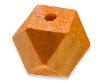 10 ORANGE Geometric Wood Beads 20mm x 24mm Colored Rustic Polyhedron faceted cube wooden beads Eco Friendly DIY Crafts large hole H209