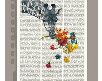 HEY! - ORIGINAL ARTWORK  printed on  Vintage Dictionary page Animal print Happy love poster -Mothers day gift