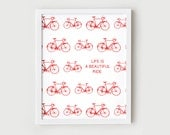 Vintage Bicycle Print, Illustration, Quote - Printable Art Poster - Retro Bike in Red and White, Wall Decor - 8x10 Digital Download
