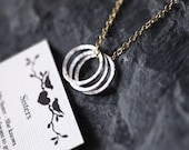 THREE SISTERS Necklace, Sisters Necklace with Poem Card, Love Sisters Jewelry, Sisters Bond, 14k Gold Plated Necklace, Big Sis Lil Sis