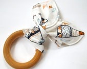 Wooden Baby Teether / Teething Ring - Teepees, Trees, Foxes and Mountains Fabric
