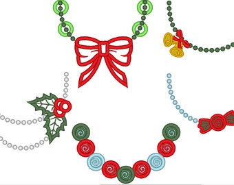 Christmas Necklaces 5 types of Necklaces, machine embroidery designs for hoop 4x4 and 5x7 INSTANT DOWNLOAD