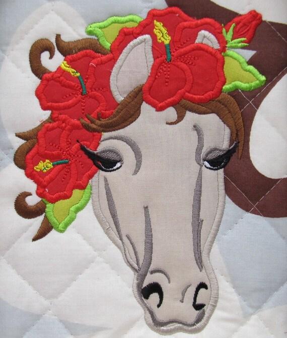 Horse head machine embroidery applique designs