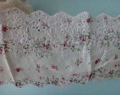 Cotton Fabric Lace Trim With Floral Print 3.14 Inches Wide 2 Yards