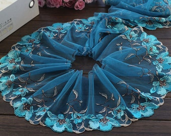 2 Yards Lace Trim Rose Flower Embroidered LakeblueTulle Lace Trim 7 Inches Wide High Quality