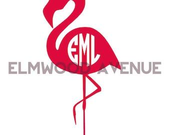 Monogrammed Flamingo decal sticker