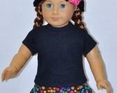 Black Top Handmade Black Rainbow Polka Dot Skirt Hand Crocheted Black Hat and Flower Fits American Girl Doll