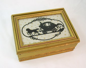 Vintage Glass Silhouette Victorian Carriage Picture Framed Wood Jewelry Box Trinket Vanity Antique Gold
