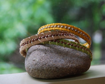 Earth Day every day leather bracelet trio stackers