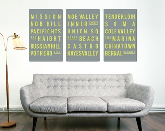 SAN FRANCISCO, Subway Sign, Typography Art, Modern Poster, Retro Home Decor, Gray and Yellow, Set of 3