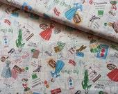 Japanese Fabric Cotton Yuwa - Suzuko Koseki - Mode Vintage Pattern Offwhite - half yard