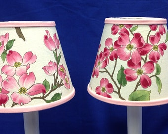 Set of 2 Dogwood Chandelier Shades Battery Operated Electric Candle Lamp Shade
