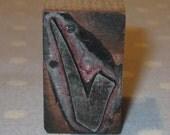 Antique Letter Press Metal on Wood Block Stamp Advertising Newspaper - Check Mark