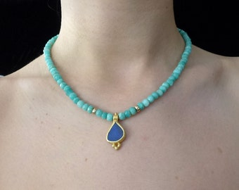 22K Gold Necklace, Indigo Blue Opal Boulder Pendant, Turquoise Amazonite beaded Necklace, Opal Gold Necklace, Christmas Gift for her