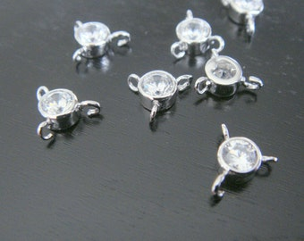 Small Silver Crystal Stone Connector, Clear Stone pendants, Gemstones, Beads, 2 pc, B69185