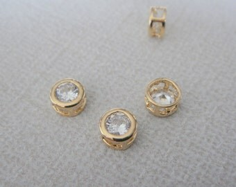 Gold Small round crystal Stone bead, clear cz connector, petite Clear Stone pendants, Gemstones, Beads, 2 pc, U52306