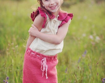 Girl's Knit Skirt, Gracie Skirt Knitting PATTERN, in Sizes Newborn- Age 6, Lace, Spring, Summer, Fall, Winter, In the Round, Worsted Weight