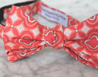 Bow tie in coral and turquoise tiles - Groomsmen and wedding tie - clip on, pre-tied with strap or self tying