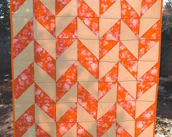 Orange and Pink Herringbone Quilt