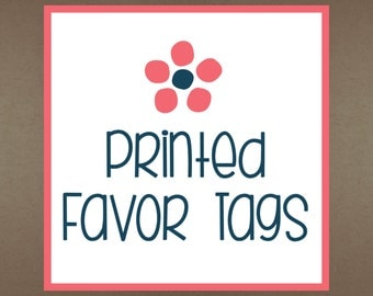 24 Printed Favor Tags to Match Party Theme