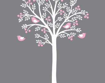 White Tree Decal Pink Flowers White Grey Nursery themed Decor