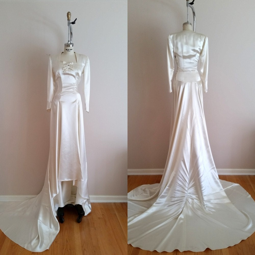 Vintage 1930s Silk Satin Wedding Dress 30s Wedding Dress