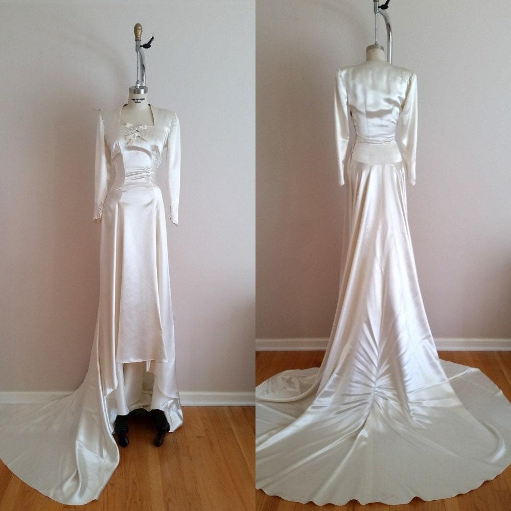 Vintage 1930s silk satin wedding dress 30s wedding dress for Vintage satin wedding dresses
