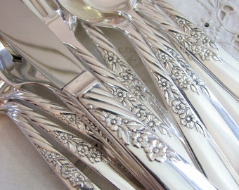 Vintage Silverware Set, Silverplate Flatware Set, WILDWOOD / ALWAYS Floral Service for 8, Silver Plate, 1958 Oneida Wm. A. Rogers (55 Pcs)