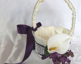 Plum lilac with white real touch calla lily flower girl basket
