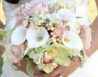 Calla lily rose orchid bridal bouquet mini white calla lily bridesmaid bouquets
