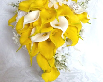 Yellow and white real touch Calla lily lilacs and hydrangea wedding bouquet Cascading calla lily bouquet