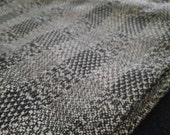 Woven Raw Silk and Cotton Scarf, Stole, Browns and Black