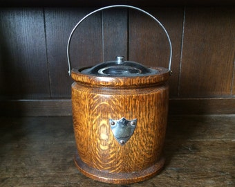 Vintage English wooden tea coffee biscuit cookie caddy barrel with shield circa 1940's / English Shop